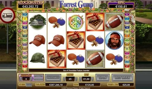 TS featuring the Video Slots Forrest Gump with a maximum payout of $50,000
