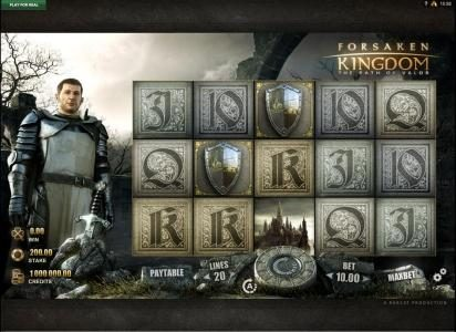 Forsaken Kingdom The Path of Valor :: Main game board featuring five reels and 20 paylines with a $200,000 max payout