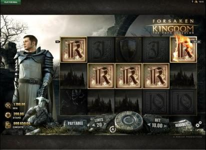 Forsaken Kingdom The Path of Valor :: Five of a Kind triggers a $1,000 big win line pay.