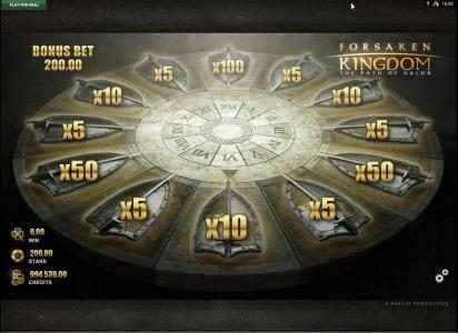 Forsaken Kingdom The Path of Valor :: Round Table of Fortune Bonus Game Board - wheel will spin and land on a multipler