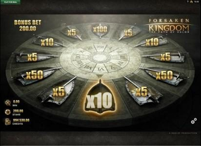 Forsaken Kingdom The Path of Valor :: The wheel landed on a 10x multiplier - 10 x bas game line bet equals bonus game prize award.