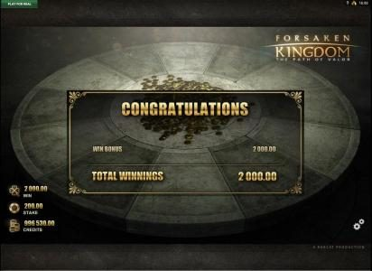 Forsaken Kingdom The Path of Valor :: bonus game pays out $2,000