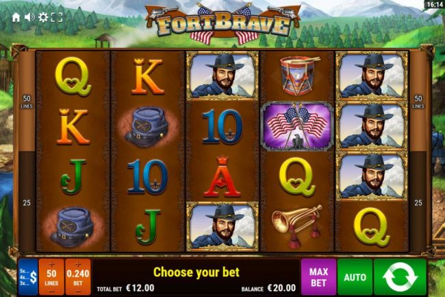 Fort Brave :: Main game board featuring five reels and 50 paylines with a $1,200 max payout.