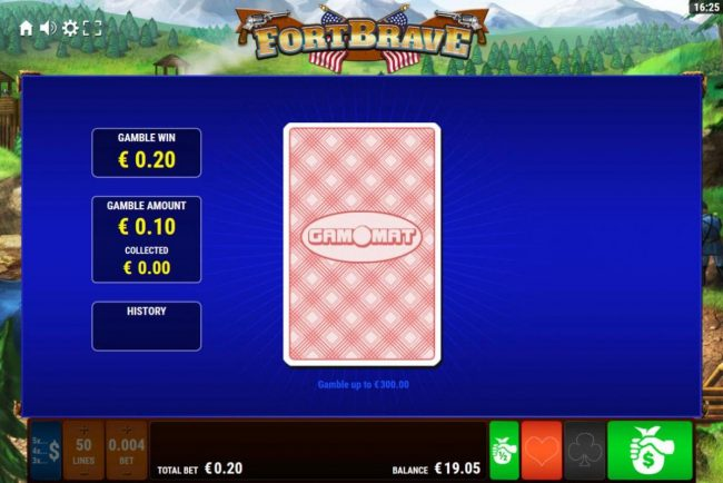 Fort Brave :: Gamble Feature - To gamble any win press Gamble then select Red or Black