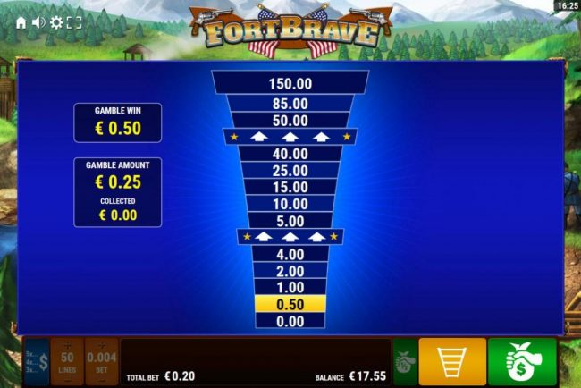 Fort Brave :: Ladder Gamble Feature Game Board available after every winning spin.