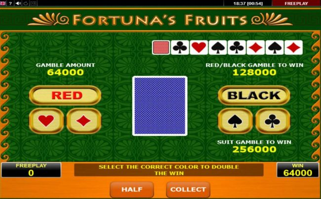 Fortuna's Fruits :: Gamble Feature Game Board
