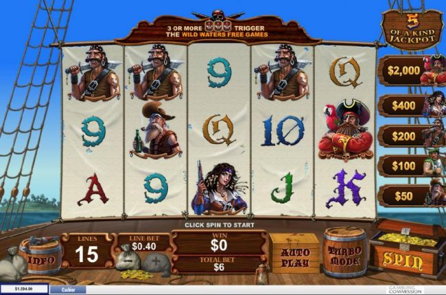 Fortunate 5 :: Main game board featuring five reels and 15 paylines with a progressive jackpot max payout