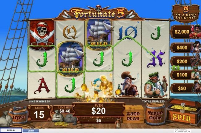 Titanbet.it featuring the Video Slots Fortunate 5 with a maximum payout of Jackpot