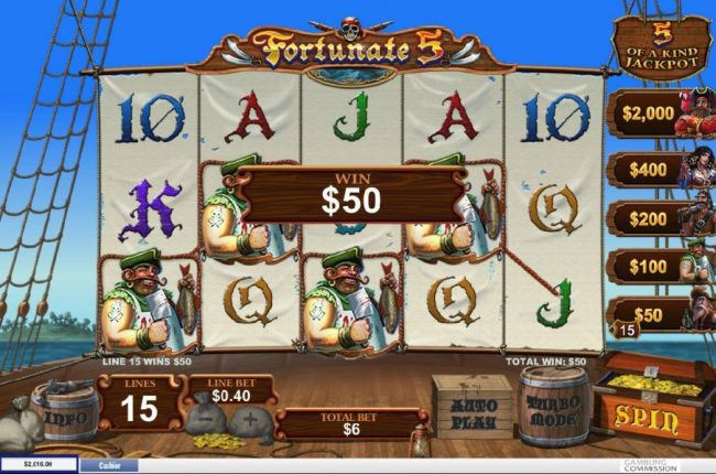 Fortunate 5 :: A four of a kind awards a $50 line pay