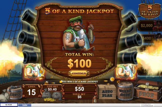 A five of a kind jackpot awarded
