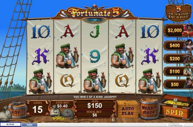 Fortunate 5 :: Total payout 150.00