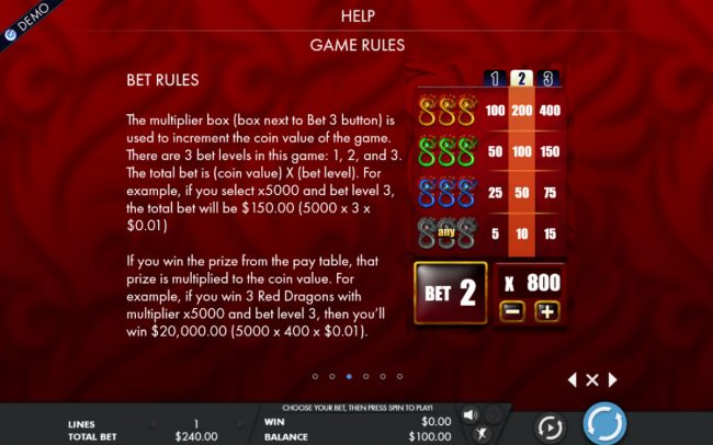10Bet featuring the Video Slots Fortune Dragon with a maximum payout of $32,000