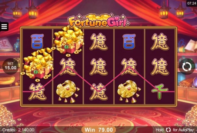 Roxy Palace featuring the Video Slots Fortune Girl with a maximum payout of $90,000