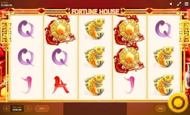 Fortune House :: Main game board featuring five reels and 20 paylines with a $12,500 max payout.