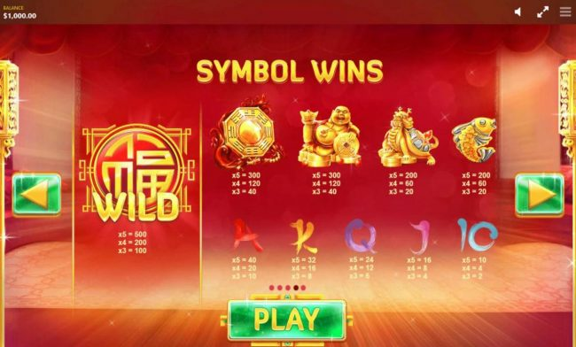 Fortune House :: Slot game symbols paytable featuring Asian inspired icons..