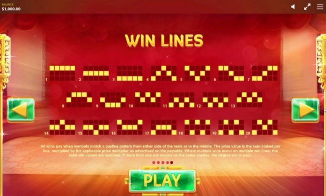 Fortune House :: Payline Diagrams 1-20. All wins are paid when a symbol matches a payline pattern from the leftmost side of the reels.