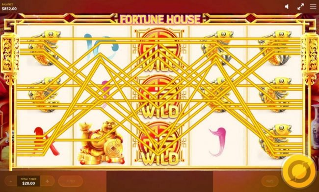 Fortune House :: Multiple winning paylines triggers a big win!