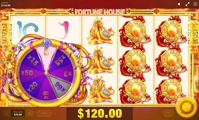 Fortune House :: Dragon Wheel feature lands on an x3 multiplier awarding player with an 120.00 jackpot prize.