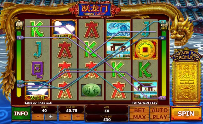 EuroMax Play featuring the Video Slots Fortune Jump with a maximum payout of $12,500
