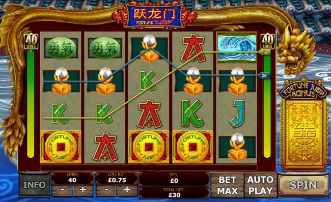 Pamper featuring the Video Slots Fortune Jump with a maximum payout of $12,500