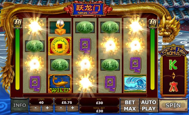 Casino Plex featuring the Video Slots Fortune Jump with a maximum payout of $12,500