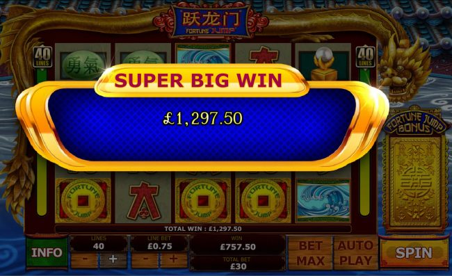 Grand Reef featuring the Video Slots Fortune Jump with a maximum payout of $12,500