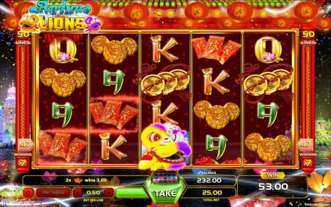 Mongoose Casino featuring the Video Slots Fortune Lions with a maximum payout of $12,500