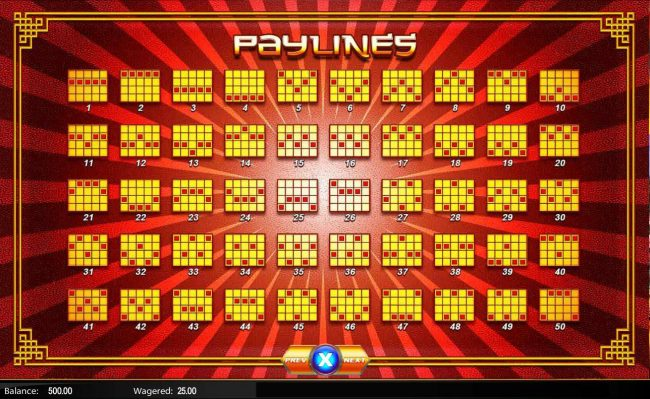 Fortune Pays :: Payline Diagrams 1-50