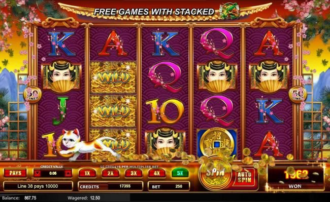 Fortune Pays :: A winning Five of a Kind leads to a 10,000 coin super win.
