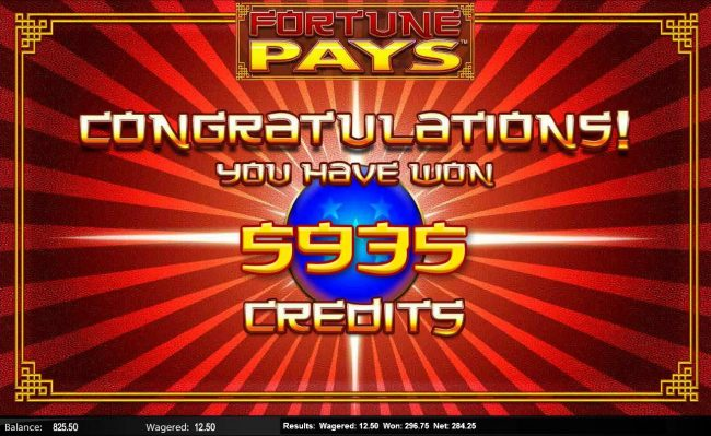 Fortune Pays :: The Free Games feature pays out a total of 5,935 credits for a super win.