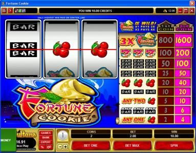 Go Wild featuring the Video Slots Fortune Cookie with a maximum payout of $16,000
