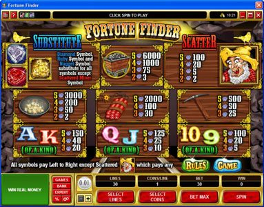 Play slots at River Belle: River Belle featuring the Video Slots Fortune Finder with a maximum payout of $30,000