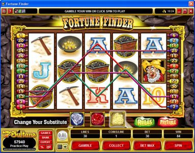 Cabaret Club featuring the Video Slots Fortune Finder with a maximum payout of $30,000