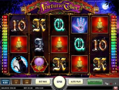 Play slots at Lord of the Spins: Lord of the Spins featuring the Video Slots Fortune Teller with a maximum payout of $1,250