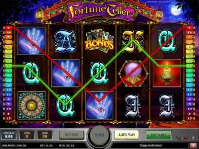 Omnia featuring the Video Slots Fortune Teller with a maximum payout of $1,250