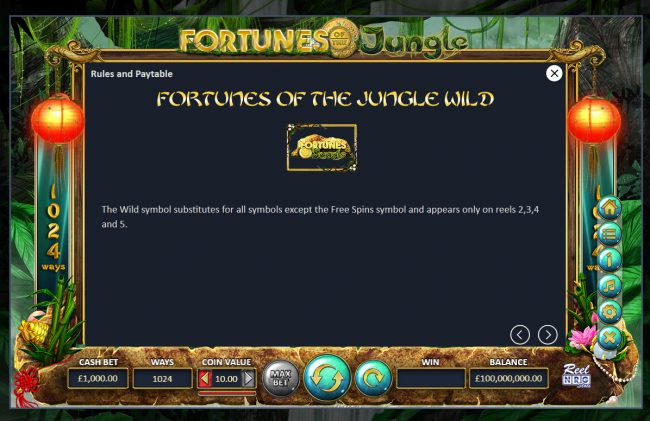 Fortunes of the Jungle :: Wild Symbol Rules