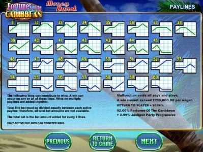 Play Million featuring the Video Slots Fortunes of the Caribbean with a maximum payout of $2,000