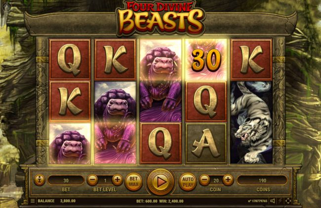 Oshi featuring the Video Slots Four Divine Beast with a maximum payout of $3,000,000