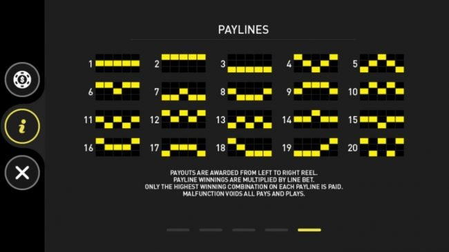 Four Guardians :: Payline Diagrams 1-20. Payouts are awarded from left to right reel. Payline winnings are multiplied by line bet. Only the highest winning combination on each payline is paid.