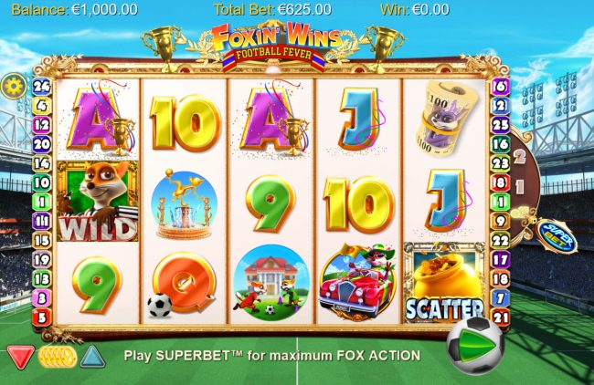 Guts featuring the Video Slots Foxin' Wins Football Fever with a maximum payout of $1,250,000