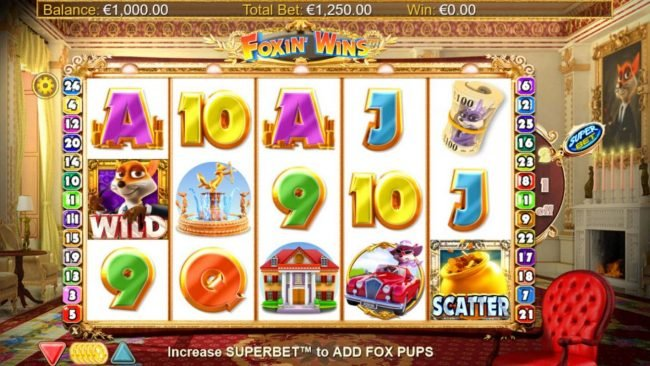 Casinsi featuring the Video Slots Foxin' Wins HQ with a maximum payout of $125,000