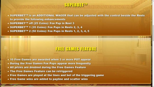 Lucky Me Slots featuring the Video Slots Foxin' Wins HQ with a maximum payout of $125,000
