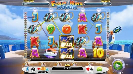 Videoslots featuring the Video Slots Foxin' Wins Again with a maximum payout of $4,000