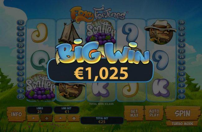 Foxy Fortunes :: A 1,025 Bigw Win!