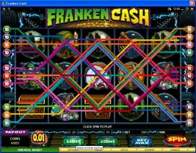 21 Jackpots featuring the Video Slots Franken Cash with a maximum payout of $25,000