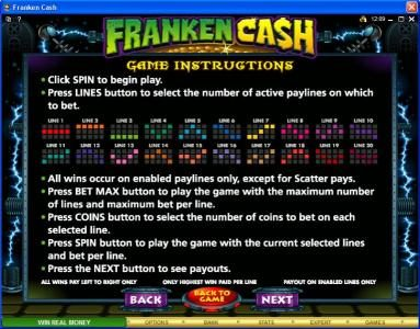 Chanz featuring the Video Slots Franken Cash with a maximum payout of $25,000