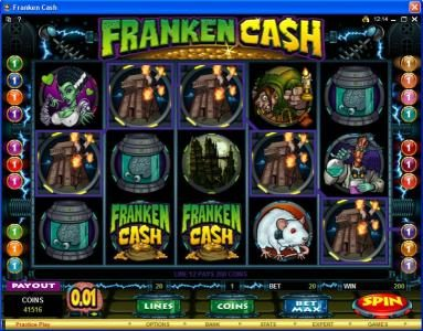 Simba Games featuring the Video Slots Franken Cash with a maximum payout of $25,000