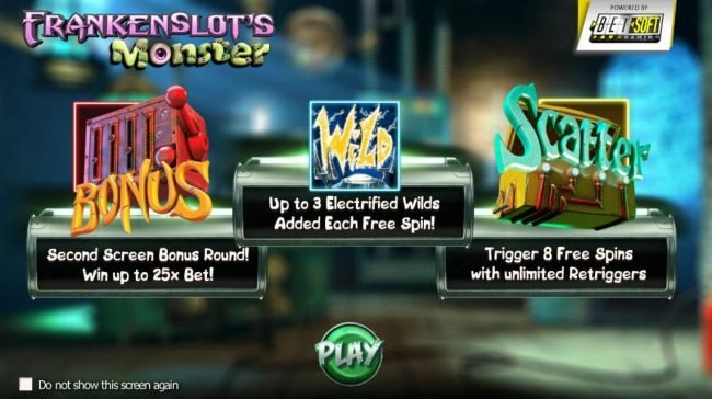 Slots LV featuring the Video Slots Frankenslot's Monster with a maximum payout of $5,000