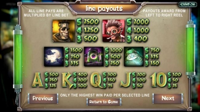 Drake featuring the Video Slots Frankenslot's Monster with a maximum payout of $5,000