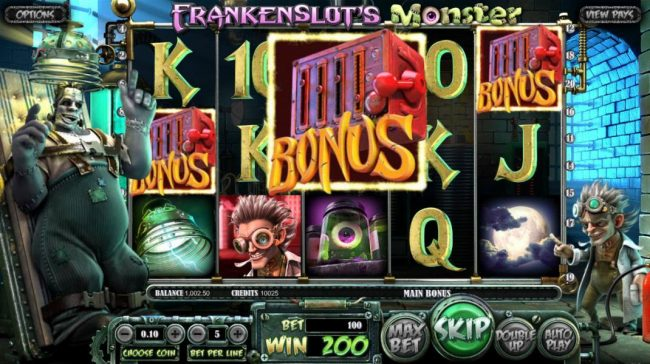 21 Grand featuring the Video Slots Frankenslot's Monster with a maximum payout of $5,000